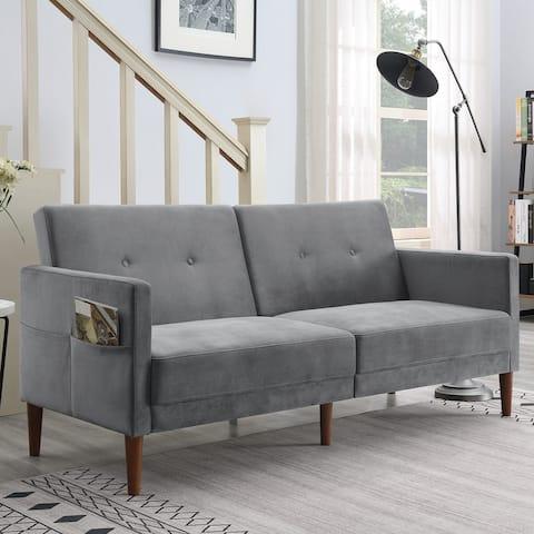 Nestfair Velvet Upholstered Convertible Folding Futon Sofa Bed