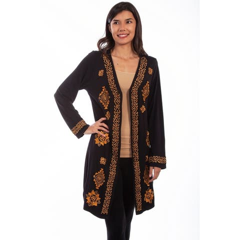 Scully Western Cardigan Womens L/S Embroidered Open Black