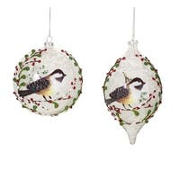 "Pack of 6 Frosted Bird Ball and Drop Christmas Glass Ornament 7"" - WHITE"