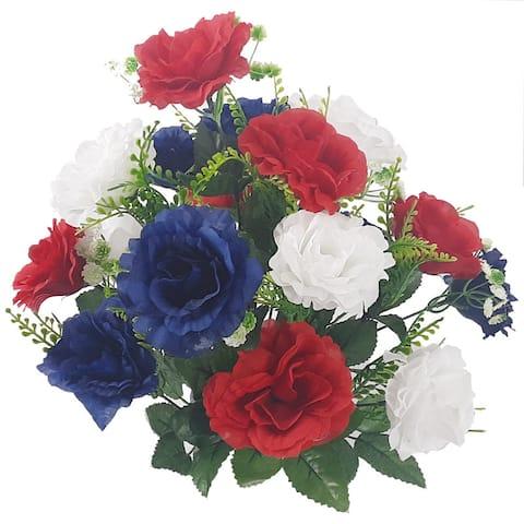 ABN1B002-RD-WHT-BL Artificial Full Blooming Rose Flower Bush, 18 Stems, Red/White/ Blue - Red - 19