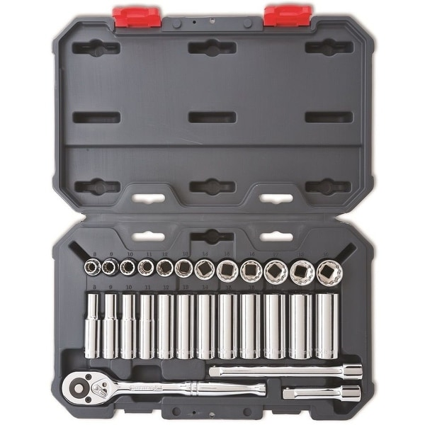 """Crescent CSWS9 3/8"""" Drive Metric Socket Wrench Tool Set, 27 Piece"""