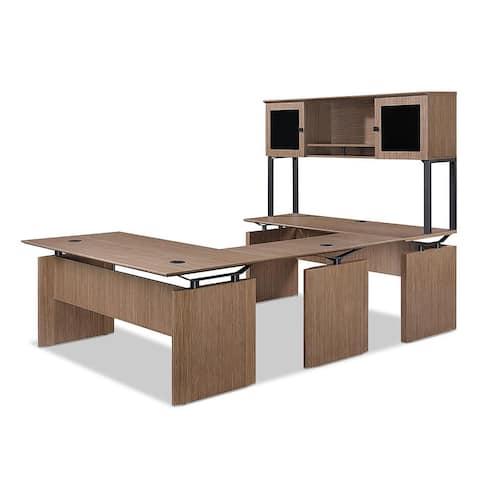 "Forward Furniture Diamond 66"" x 102"" U - Shaped Office Desk - Wood Veneer - Desk Mount Hutch - Modesty Panel - Commercial Grade"