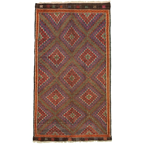 Hand Woven Bohemian Red Wool Sumak