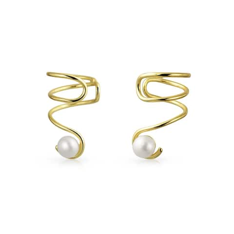 Spiral Freshwater Cultured Pearl Cartilage Earrings Gold Plated