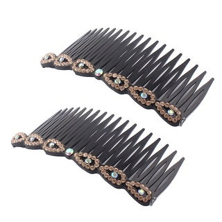 Women Plastic Hairstyle Inlaid 18 Teeth Banana Comb Hair Clips Gold Tone 2pcs