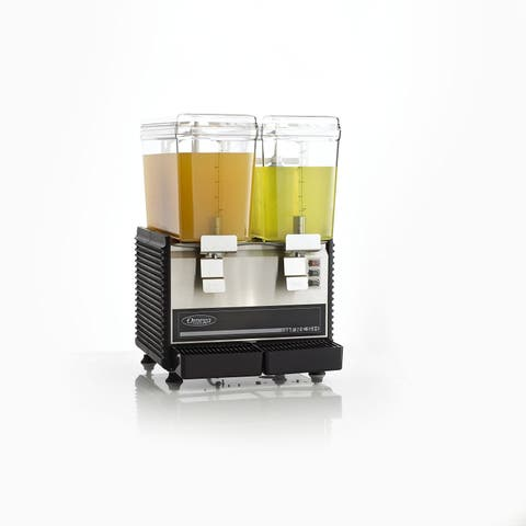 Omega OSD20 Commercial 1/3-Horsepower Drink Dispenser with 2 3-Gallon Containers, Black & Stainless Steel