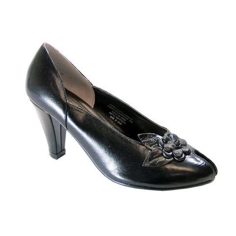 PEERAGE Reyna Womens Extra Wide Width Leather Dress Pumps