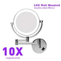 8 Inch Two-Sided LED Swivel Lighted Wall Mount Makeup Mirror with 10X Magnification