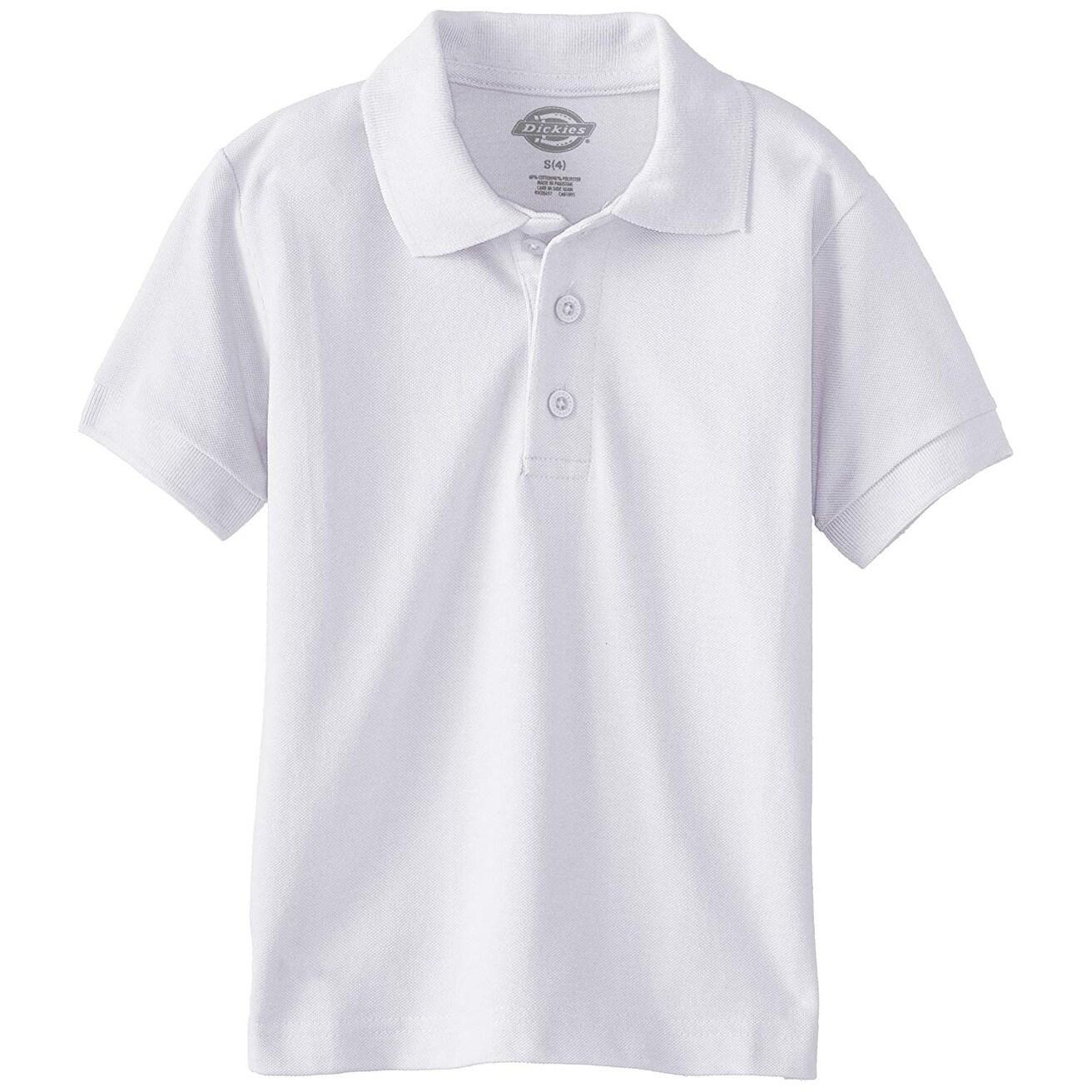 Dickies Big Boys' Short Sleeve Pique Polo Shirt,, White, Size Medium 10-12 - Medium 10-12