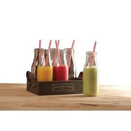 Palais Glassware High Quality Milk Bottles with Red & White Swirl Straws (Set of 6 with Wooden Tray,