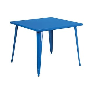 Offex 35.5'' Square Blue Metal Indoor-Outdoor Table