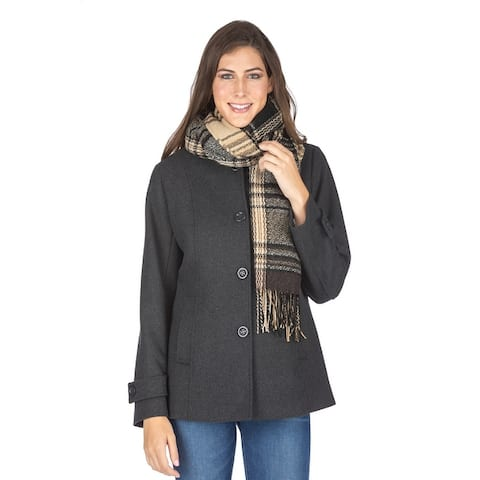 Women's Wool Blend Car Coat With Free Oversized Scarf