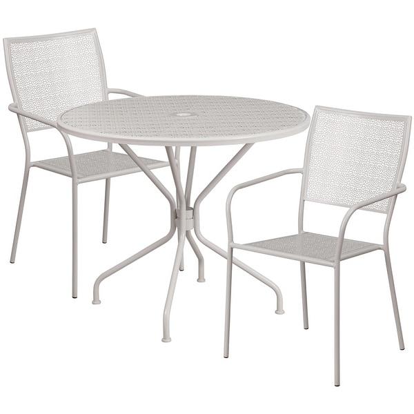 Incroyable Sterling Round 35.25u0026#x27;u0026#x27; Light Gray Steel Table Set W