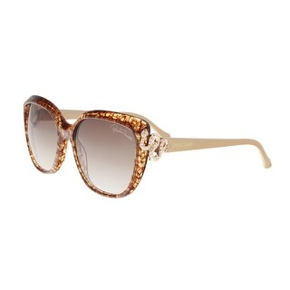 Roberto Cavalli RC1017 50F ZANIAH Brown Marble/Gold Rectangle Sunglasses - 56-17-140