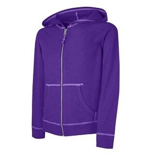 Hanes Girls' Slub Jersey Full-Zip Hoodie - Size - M - Color - Purple Crush