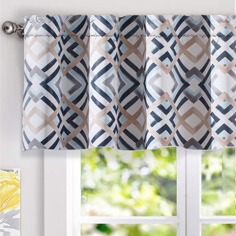 Shop Black Friday Deals On Driftaway Diamond Watercolor Geo Checker Plaid Pattern Window Valance Overstock 25656104 52 Width X 18 Length Navy
