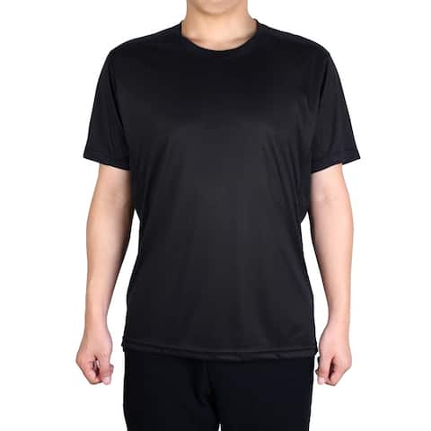 Men Polyester Short Sleeve Clothes Casual Wear Tee Running Sport T-shirt Black L