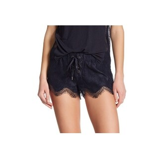 David Lerner NEW Navy Blue Womens Size Large L Grommet Lace Shorts