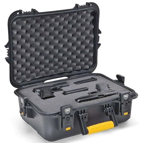 Plano 108021 plano all weather pistol/accessories case large black w/yellow latches/handle