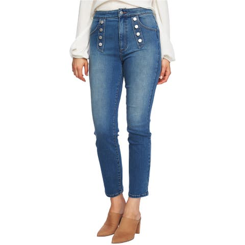 1.State Womens Button Embelishment Straight Leg Jeans