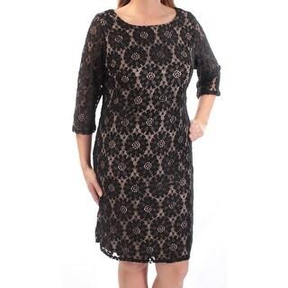 JESSICA HOWARD $99 Womens New 1184 Black Beige Embroidered Dress 14W Plus B+B