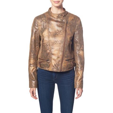Free People Fenix Women's Faux Leather Embossed Snake Print Notch Collar Moto Jacket - Pretty In Python