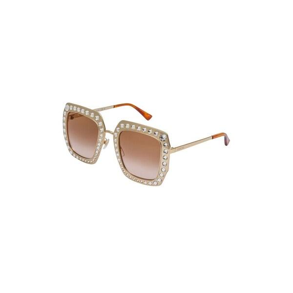 f44e3889cfd Shop Gucci Sunglasses Gg 0115 S- 002 Gold Brown - GOLD-GOLD-BROWN ...