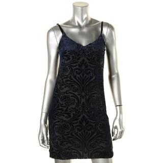 Aqua Womens Slip Dress Burnout Velvet (Option: Navy - M)