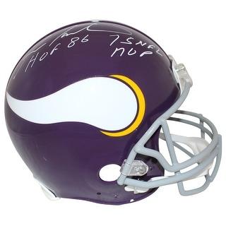 Fran Tarkenton Autographed Minnesota Vikings Authentic Helmet 2 Insc JSA