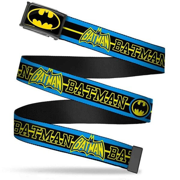 Batman Fcg Black Yellow Chrome Batman Retro Logos Stripe Blue Black Web Belt
