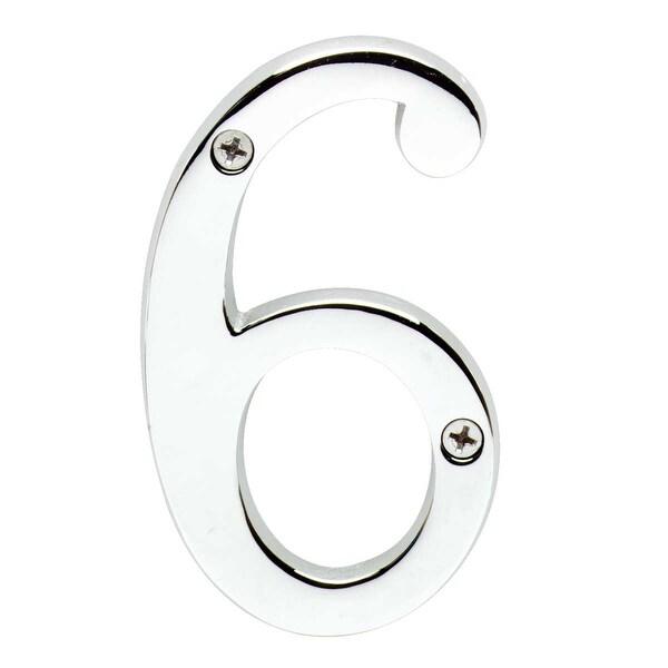 Cast Solid Brass 3 7/8 Address House Number '6' '9' Chrome | Renovator's Supply