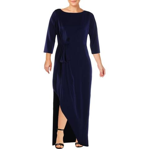 Kay Unger New York Womens Evening Dress Ruched Sheath - Navy