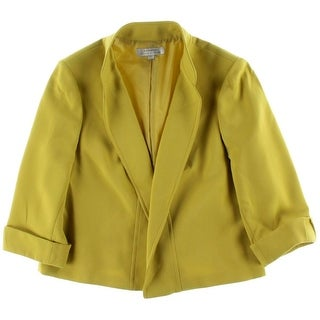 Tahari ASL Womens Plus Nicole Open Front 3/4 Sleeves Blazer