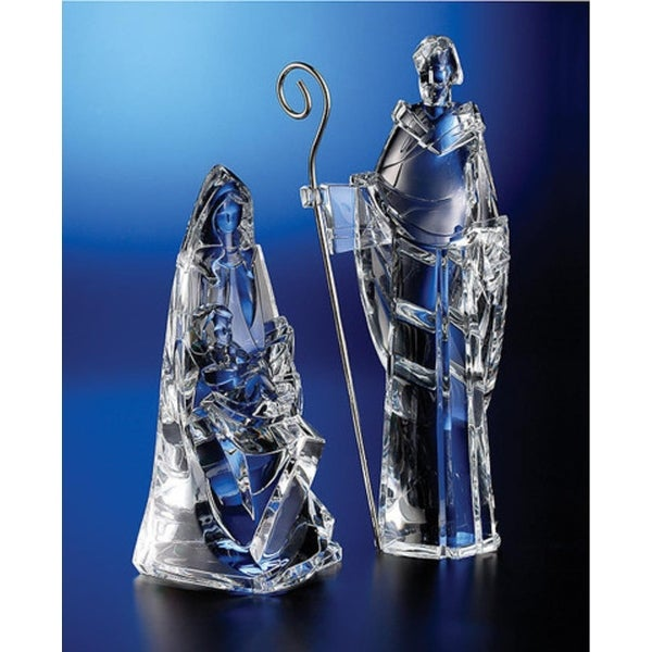 """Pack of 2 Icy Crystal Religious Holy Family Christmas Nativity Figurines 12"""" - CLEAR"""