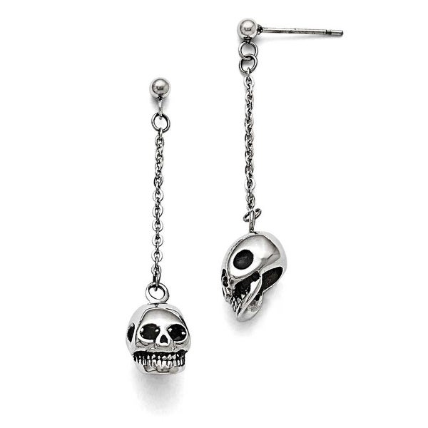 Chisel Stainless Steel Polished/Antiqued Skull Post Dangle Earrings