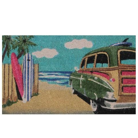 """Retro Car on Beach Rectangular Coir Door Mat 29.75"""" x 17.75"""""""