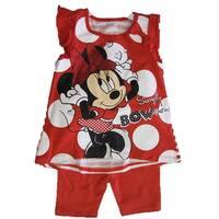 Disney Baby Girls Red White Dot Minnie Print Bow 2 Pc Capri Set 12-24M