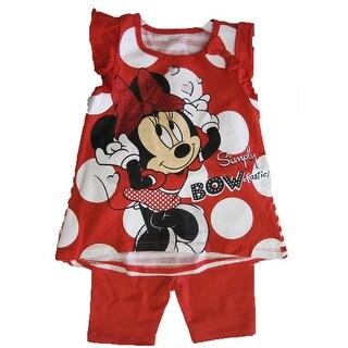 Disney Baby Girls Red White Dot Minnie Print Bow 2 Pc Capri Set 12-24M (3 options available)