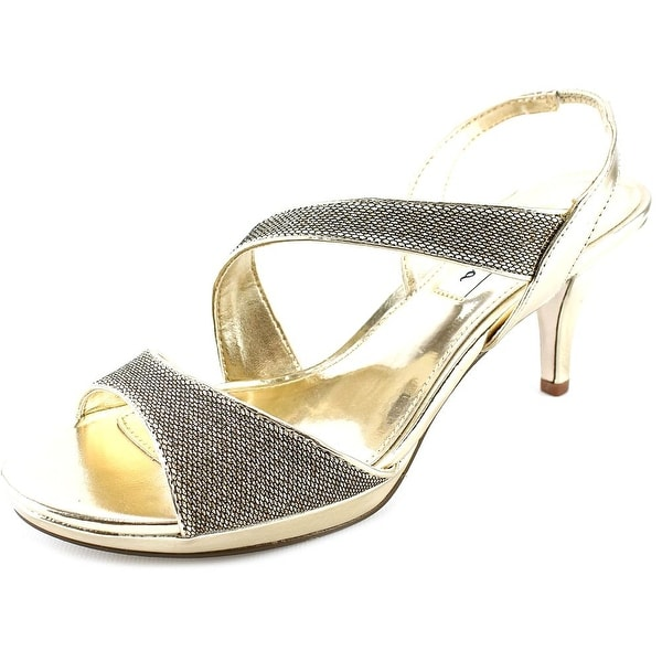 Nina Newark Women W Open Toe Canvas Gold Sandals