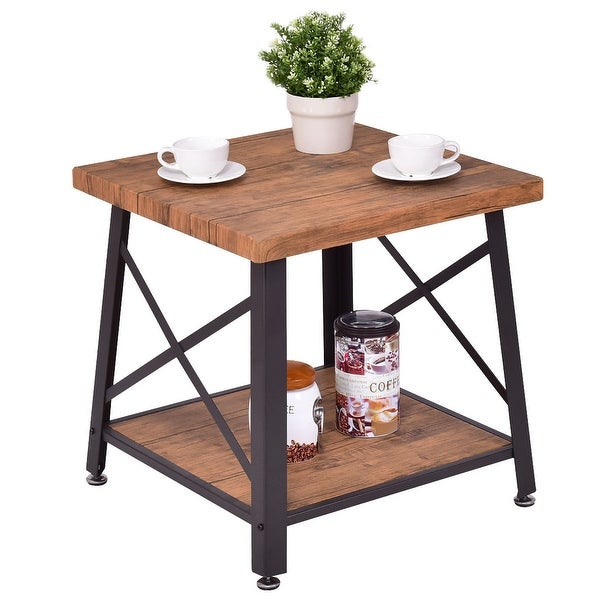 Charmant Costway Square Coffee Table Cocktail End Table Metal Frame Wood Top W/  Storage Shelf New