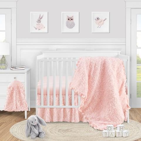 Pink Floral Rose Girl 4pc Nursery Crib Bedding Set - Light Blush Flower Luxurious Elegant Princess Vintage Boho Shabby Chic Glam
