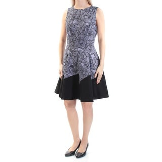 ANNE KLEIN $139 Womens New 1286 Purple Black Floral Sleeveless Dress 6 B+B