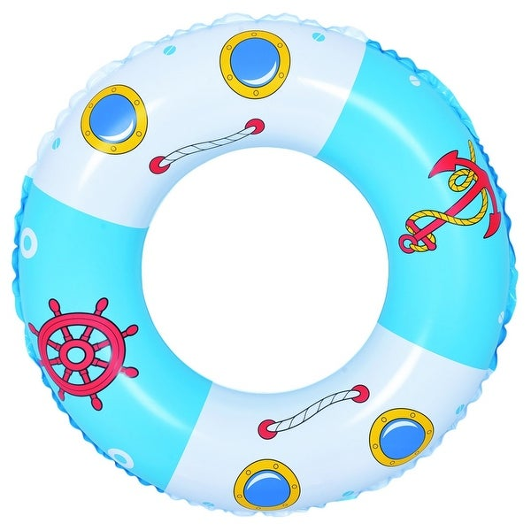 "30"" Blue and White Boat and Anchor Inflatable Swimming Pool Inner Tube Ring Float"