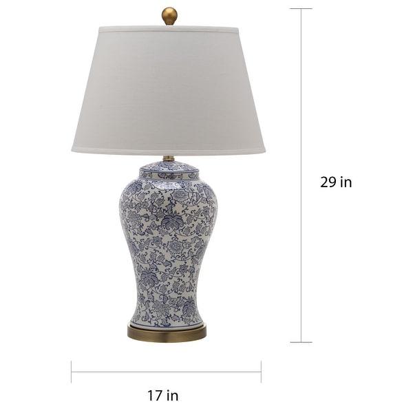 """SAFAVIEH Lighting White/ Blue Blossom Ceramic Table Lamp (Set of 2) - 17"""" x 17"""" x 29"""""""
