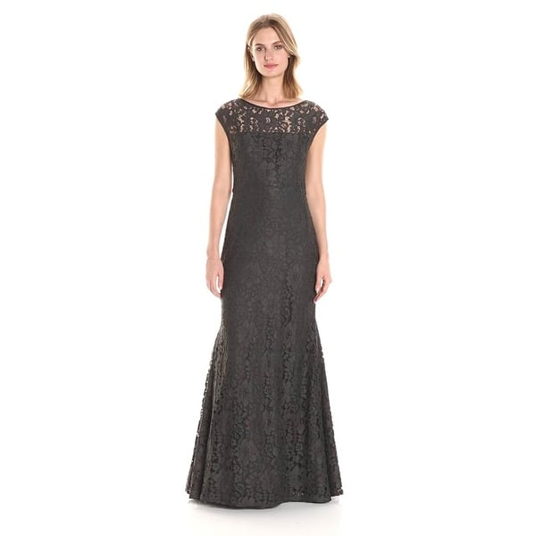 Vera Wang Womens Lace Cap Sleeve Gown Charcoal 10