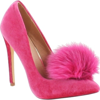 Liliana Affair Velvet Pointy Toe Stiletto High Heel Fur Pom Slip On Pump Slide Shoe - Fuchsia