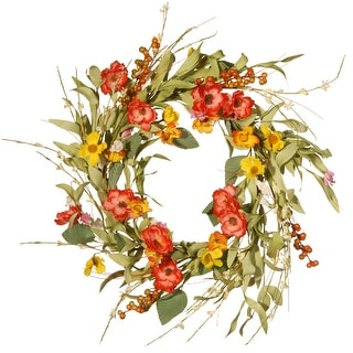 Spring Multicolor Flower Artificial Wreath - 22-Inch - N/A