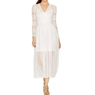 French Connection Womens Maxi Dress Lace Layered White 12