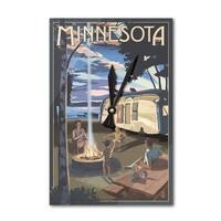 Minnesota - Retro Camper & Lake - LP Artwork (Acrylic Wall Clock) - acrylic wall clock