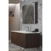 "Kohler K-99009 Verdera 34"" W x 30"" H aluminum medicine cabinet with adjustable magnifying mirror and slow-close door"